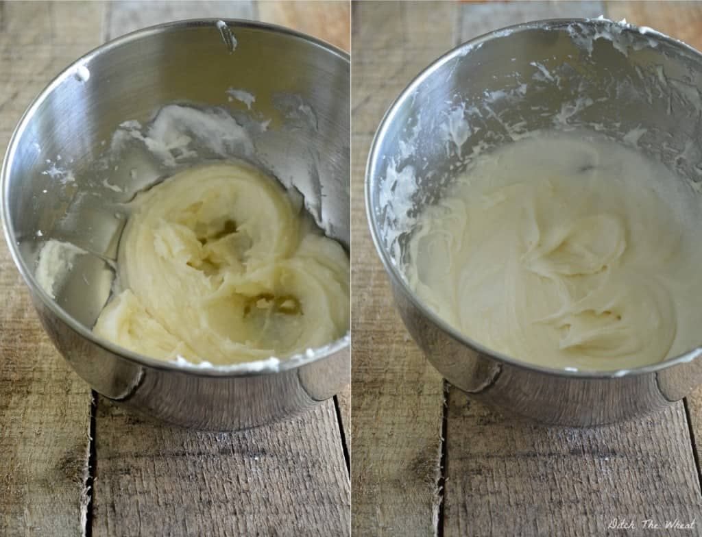 How to Cream: on the left is coconut oil and raw honey mixed together.  On the right is coconut oil and raw honey cream together.  Do you see the difference in texture and appearance?