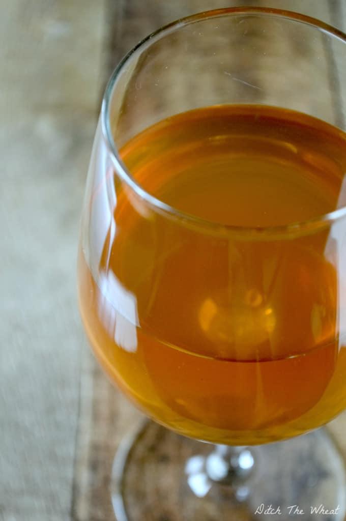 Glass of kombucha