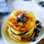 THE BEST Coconut Flour Pancakes. Best batter recipe. We've tried 5, I think. This stay moist, have the texture and flavor of good pancakes and absorb maple syrup, like the real thing. Sweet enough to ear alone, or top with strawberries. Yum! #paleo #glutenfree #lowcarb The best coconut flour pancakes, gluten free pancakes, paleo pancakes, paleo pancake recipe, nut free paleo pancakes, keto coconut flour pancakes