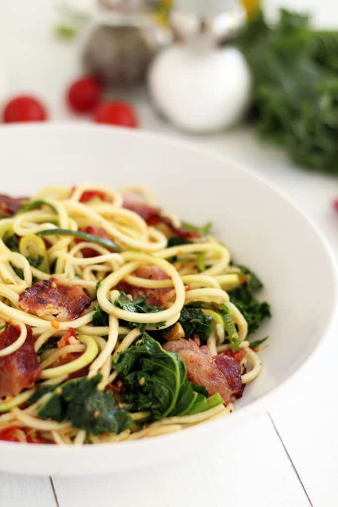 Spicy Bacon, Lettuce and Roasted Tomato Zucchini Pasta