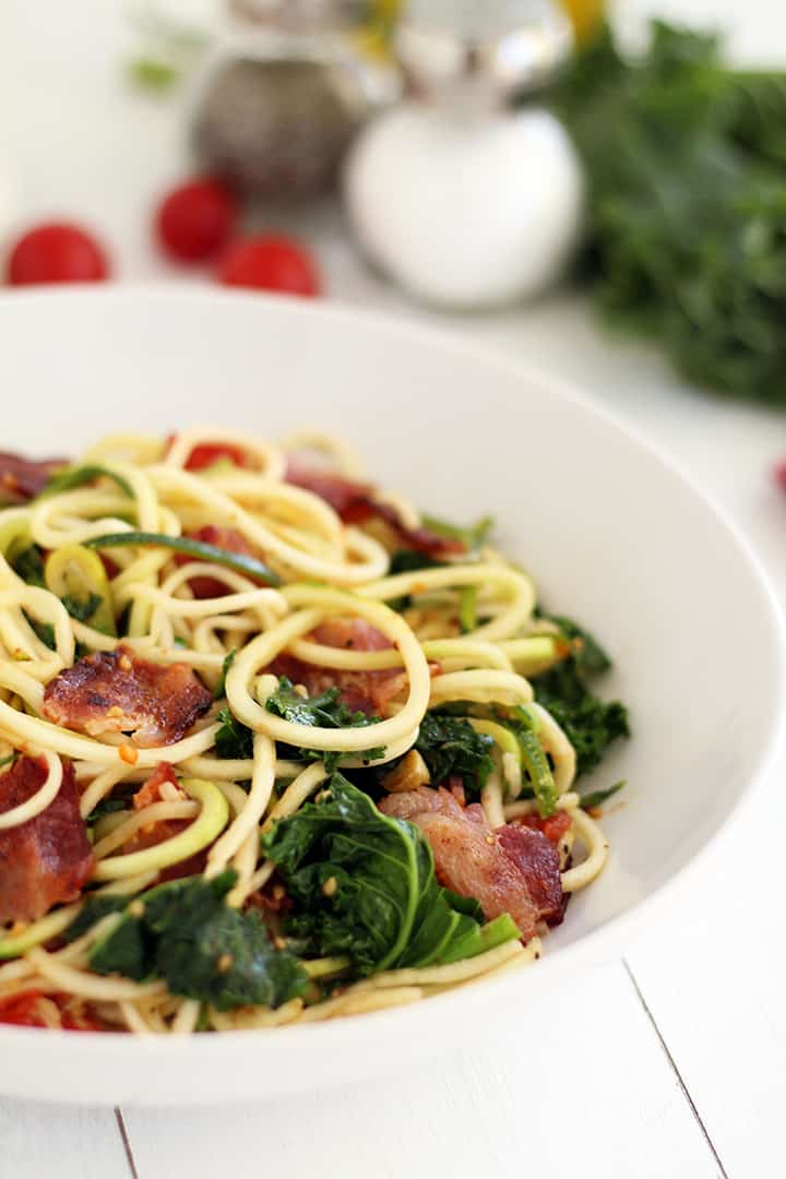Spicy Bacon, Lettuce and Roasted Tomato Zucchini Pasta | Ditch The ...