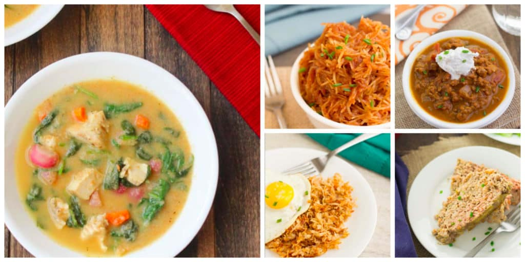 Tuscany Chicken Soup, Barbecue Spaghetti Squash, Pumpkin Chili (no beans), Celery Root Hash Browns, Dijon Meatloaf