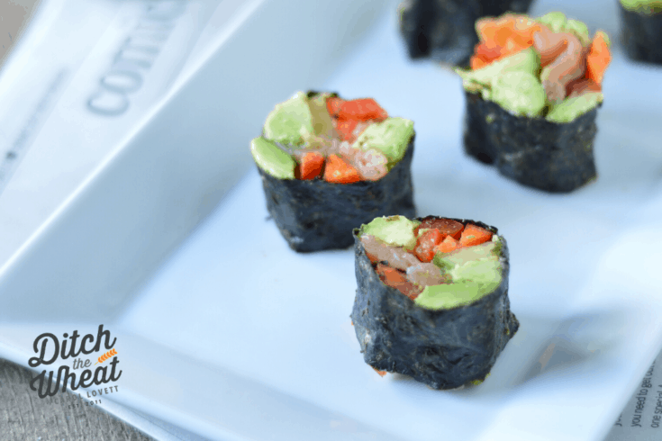 Keto sushi is easy to make and fun to eat! This is sushi is made without the rice but I've also included an easy keto rice substitute recipe.